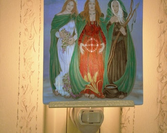 Triple Goddess Porcelain Tile Night Light