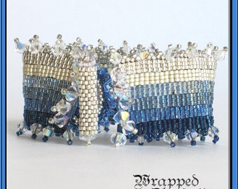 Blue & Silver Swarovski Crystal and Seed Bead Bracelet / Ombre Bead Weaving Peyote Cuff / Winter Frost Wedding Beach Wedding / Allergy Free