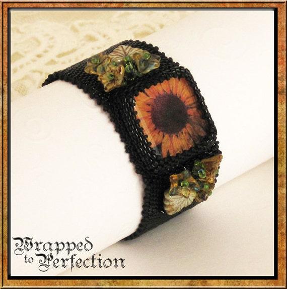 Sunflower Peyote Beaded Bracelet, Black Gold, Green, Brown Swarovski Crystals / Autumn  Fall / SRAJD / Boho / Allergy Free / Beaded Toggle