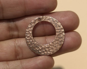 Hammered Copper Hoops 25mm Blank for Earrings -Pendant Offset Circle for Enameling Stamping Texturing Charms, Jewelry Supplies - 4 Pieces