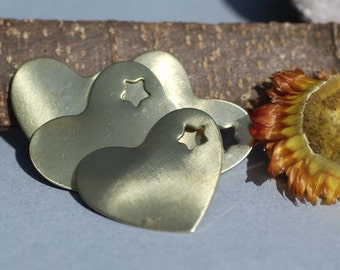 Brass or Bronze Heart with Star 30mm x 33mm 24g Blank Cutout for Soldering Stamping Texturing Metalworking