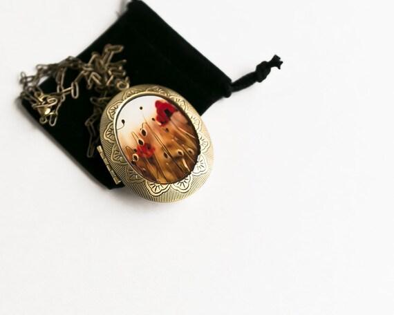 Large Art Locket, Red Poppy Locket, Photo Locket for Women, Gift for her