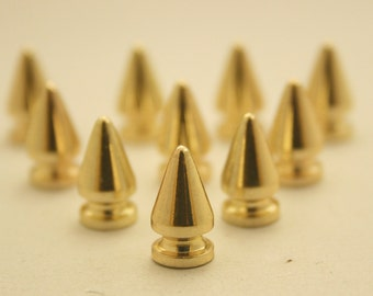 10 sets.Gold Cone Spikes Screwback Studs Rivets Leathercraft Decorations Findings 7 mm. KG713