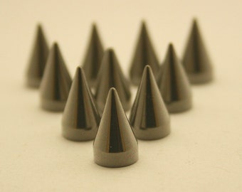10 pcs.Gunmetal Cone Spikes Screwback Studs Leathercraft Decorations Findings. WYGun712