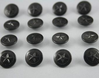 50 pcs.Black Vintage Star Round Rivet Studs Buttons Leather craft Decorations 12 mm. ST BL12 RV 0501