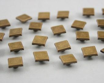 100 pcs. Antique Brass Square Metal Rivets Studs Buttons Decorations Findings 8 mm. DHRSQBR8