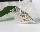 Silver Bird Necklace with Gold Wings 9 carat Gold