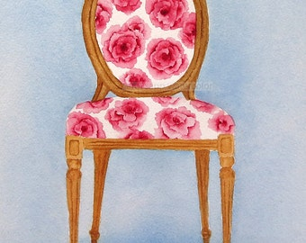 watercolor french chair giclee print 8 x 10