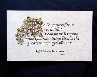 Ralph Emmerson, Quote, Custom Calligraphy, Calligraphy,