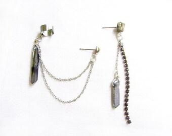 Silver Ear Cuff Chain Earring, Silver Quartz Earcuff Earring, Boho Earcuff Earring, Quartz Drop Earring
