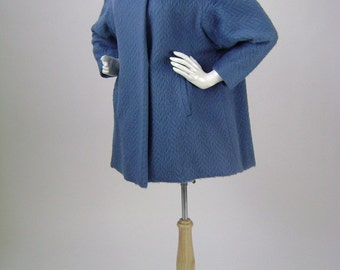 Vintage 1960s Coat / Stroller Coat Textured Blue Wool, A-Line style,  Mink Collar,  Medium B36