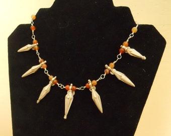 Silver Pendants Necklace Earring Set Carnelian Middle Eastern Red Bib Choker Statement (M-151)