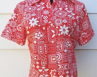 Vintage 1950s Crazy Red Atomic Beach Blouse 100% Cotton Permanent Press Top