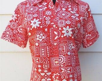 Vintage 1950s Crazy Red Atomic Beach Blouse 100% Cotton Permanent Press Top