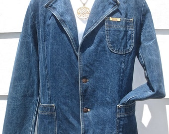 Vintage 1970's  Man's Denim COLTER Casual Jacket - Hipster, Mod, Disco- Size 40