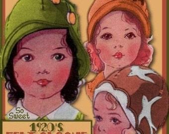 PDF Sweetest Toddlers 1920s FELT Cloche Hat e-pattern - 3 Styles PDF download