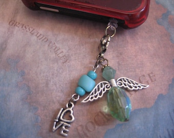 One Love Angel Phone Charm for any SmartPhone with plug for  auxiliary ear phones