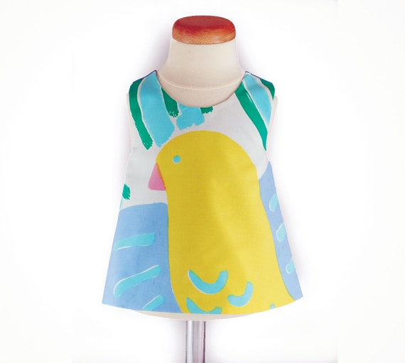 ON SALE Was 40 now 20 Ken Done fabric baby pinafore 0 - 6 months