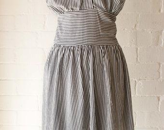 1940s Stripe Cross over dress