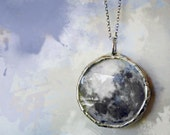 Full Moon Necklace. Silver Moon Jewelry. Phases of the Moon Pendant. Sterling Silver Chain. Moon Jewelry