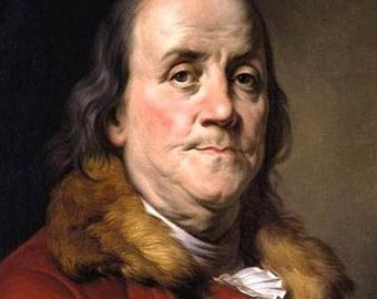 Vintage image of Benjamin Franklin suitable for framing Patriotic