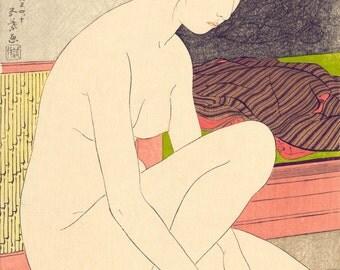 """Japanese Fine Art Giclée, Reproduction Vintage Woodcut """"Japanese Woman After Bath"""" 10.25""""x15.5"""" c1915"""