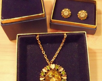 SALE - 1974 Avon Set: Sun Brilliants Convertible Pendant/Pin AND Clip Earrings AND Ring