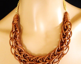 Rope Necklace, Braided Necklace, Statement Necklace in Brown and Gold, Party Bling