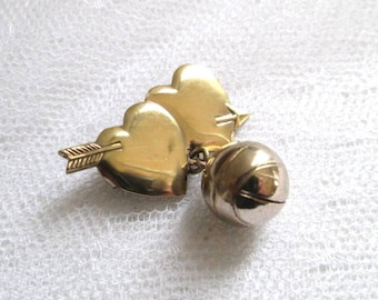Vintage Double Heart Pin Basketball Charm Sweetheart Pin