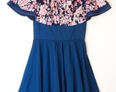 RESERVED//Vintage 1960s navy blue floral ruffle square dancing dress (xs/sm)