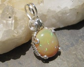 Neon Green Blue Confetti Fire Ethiopian Opal - Sterling Silver Pendant Charm with VIDEO