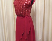 Vintage Made in Australia Sexy 70s Ricki Renee Sydney Red Sequin Formal Prom Bridesmaid Dress
