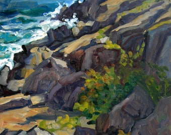 Monhegan Headlands, Maine. Oil Painting Seascape, Large Plein Air American Impressionist Oil on Panel, 24x18 Signed Original Fine Art