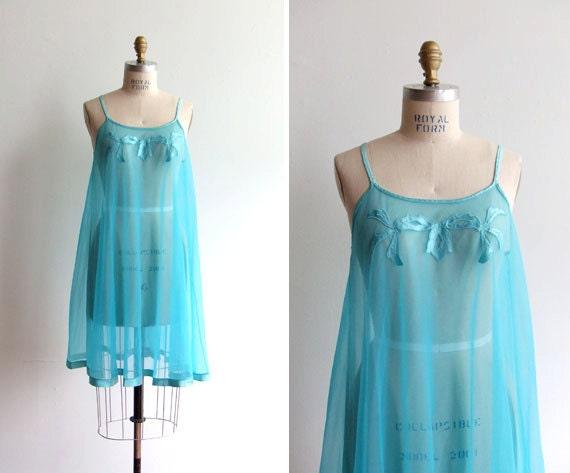 SALE / vintage 1960s tourquise blue nylon chiffon baby doll lingerie