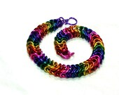 Chainmaille Jewellery, Rainbow Aluminum Box Chain Chainmail Bracelet