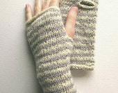 Dove Grey and White Striped Wrist Warmers - MADE TO ORDER