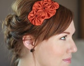 Rust Orange Headband for Women, Rosette Trio for Adults and Girls