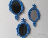 Framed Mirror Set of Three in Small Ornate Frames - Periwinkle Blue
