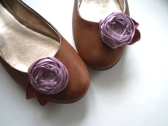 Shoe Clips Cabbage Rosettes in dusky lavender color with  leaves Handmade customize your color