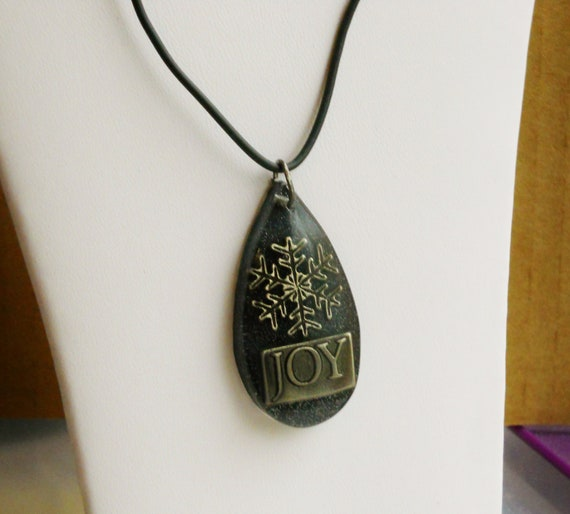 JOY & Snowflake Necklace -- Gift Boxed, Black Resin Teardrop w/ Metal Embellishments, Black Cording -- Snow, Christmas, Winter, Holiday