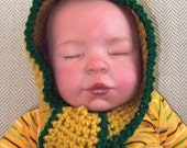 All in One Scarf & Hat... Scoodie... Green Bay NFL Headwrap...0 to 6 month Boy or Girl...Mustard Gold and Hunter Green Trim ...Ready to Ship
