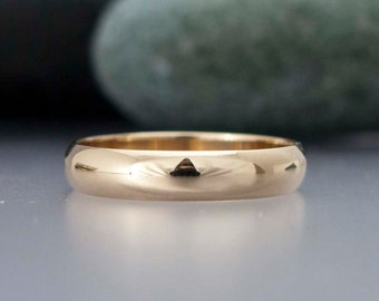 14k Gold Mens Wedding Band - 4mm Wide Half Round Ring in Solid Yellow Gold