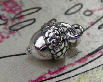 Tiny Acorn Charm - Sterling Silver, Natural Bronze, Woodlands, Trees, Nuts
