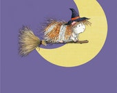 Guinea Pig Art for Halloween - Witchy Peeg's Midnight Ride Guinea Pig Art Print