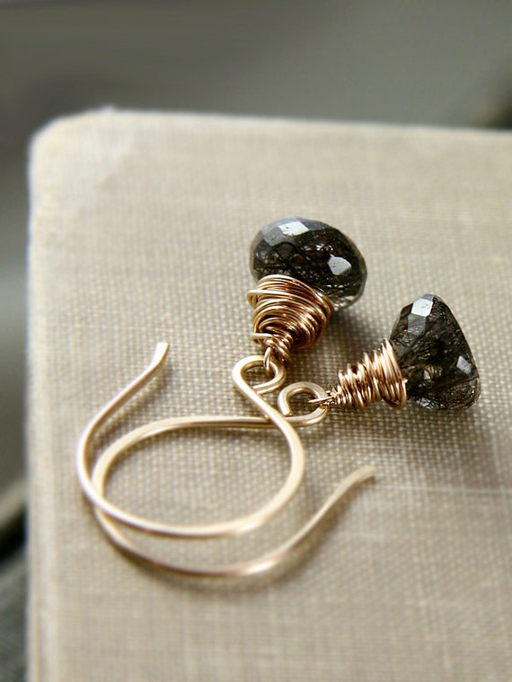 Small Black and Gold Earrings, Tourmalinated Quartz Gemstone Jewelry - Midnight Confetti