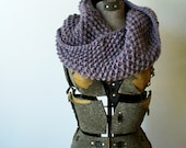 Knitted Neck Cowl, infinity twisted scarf - Iridescence purple with red, gold, blue, extra soft and bulky merino wool