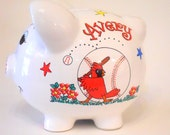 Piggy Bank St. Louis Cardinals Baseball Personalized for Girl