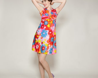 Vintage 1960s Neon Mini Dress - Floral Jersey - Summer Fashions