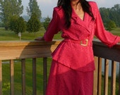 SALE  plus size pink dress suit / 80s fuchsia pink / padded shoulders
