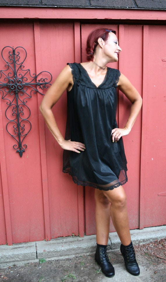 vintage 1960s black babydoll lingerie chiffon nightgown sexy boudoir size large